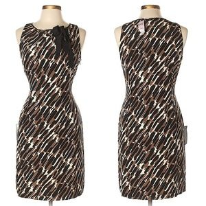 Ann Taylor black brown ivory graphic print dress